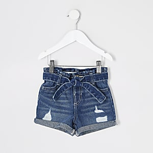 Mini - Blauwe ripped denim short voor meisjes