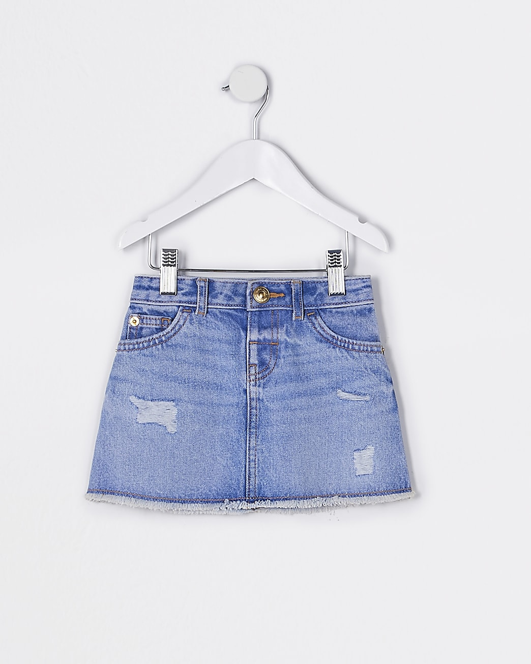 Mini girls blue ripped denim skirt