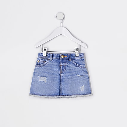 Mini girls blue ripped denim skirt