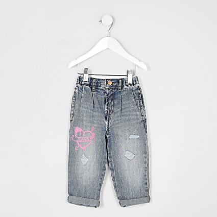 Mini girls blue ripped graffiti mom jean