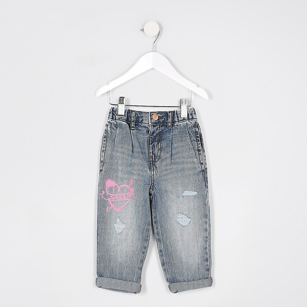 Mini girls blue ripped graffiti mom jeans
