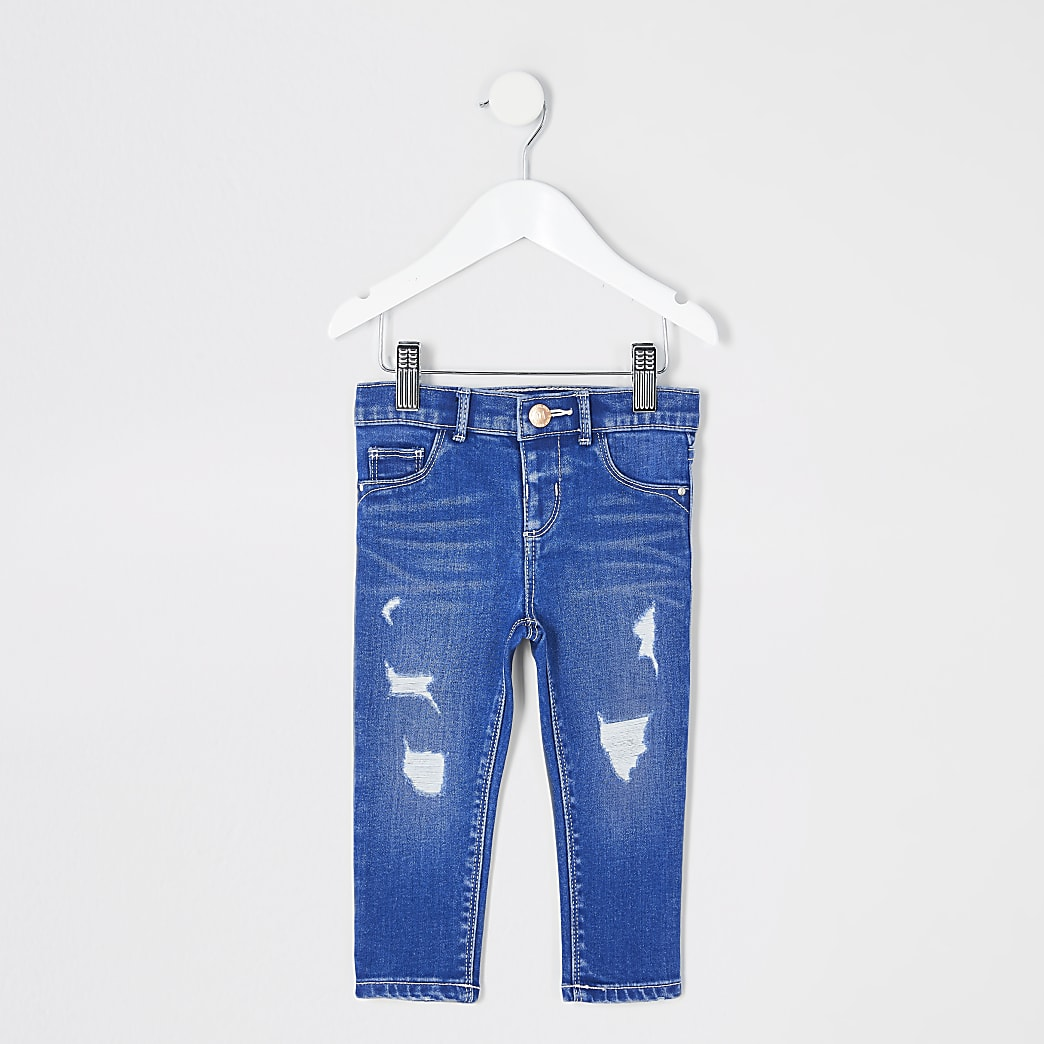 Mini girls blue ripped Molly jeggings