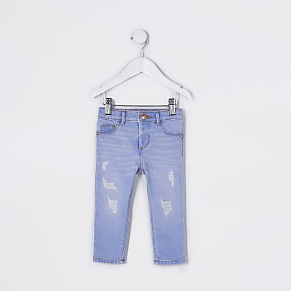 Mini girls blue ripped Molly mid rise jegging