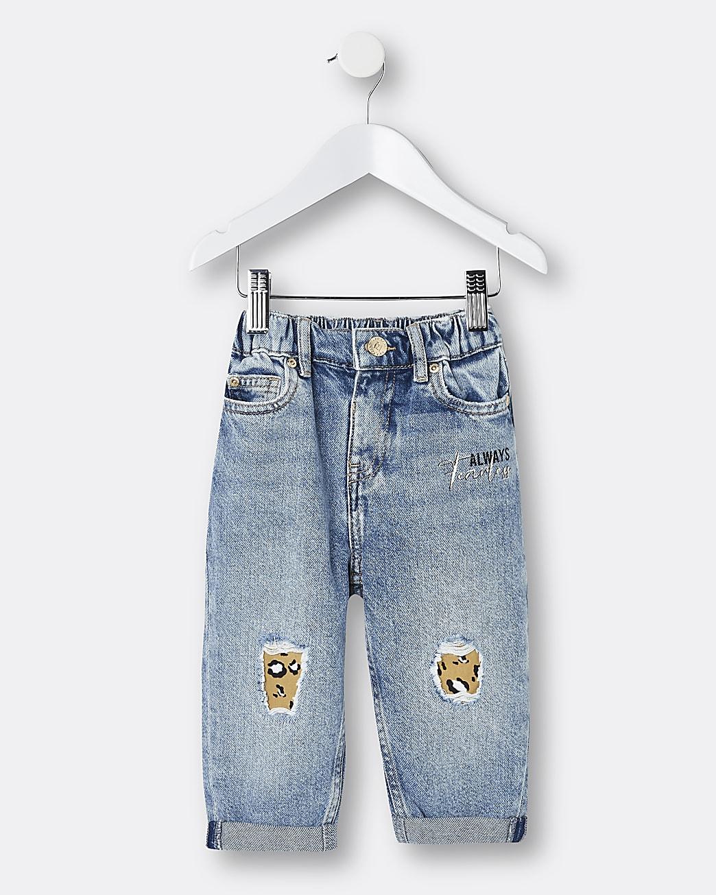 Mini girls blue ripped mom jeans