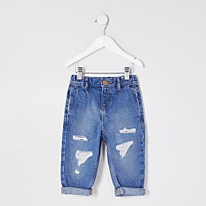 Mini girls blue ripped Mom jeans