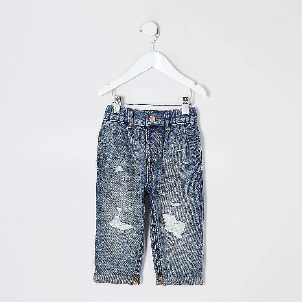 Mini - Blauwe rippedmom jeans met halfhoge taille voor meisjes