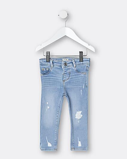 Mini girls blue ripped skinny fit jeans