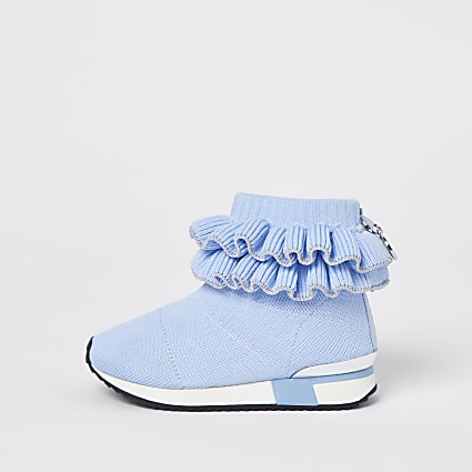 Mini girls blue ruffle knit  hi top trainers