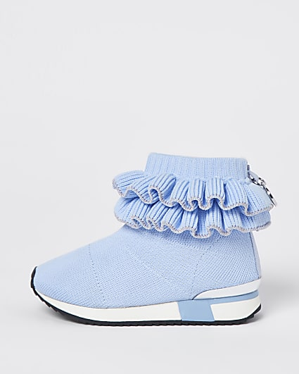 Mini girls blue ruffle knit  hi top trainers