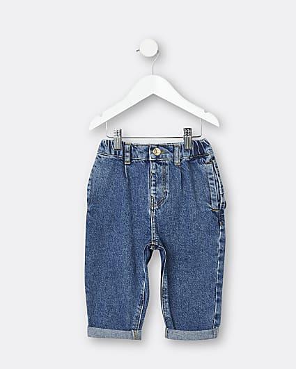 Mini girls blue ruffle mom jeans