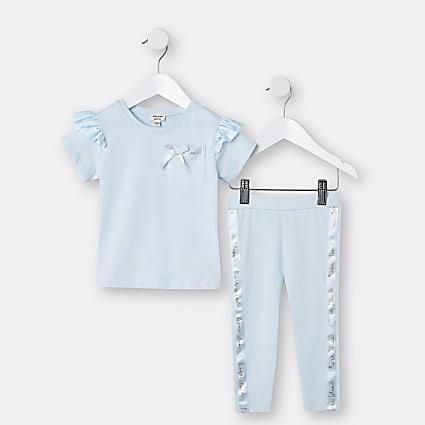 Mini girls blue satin frill t-shirt outfit