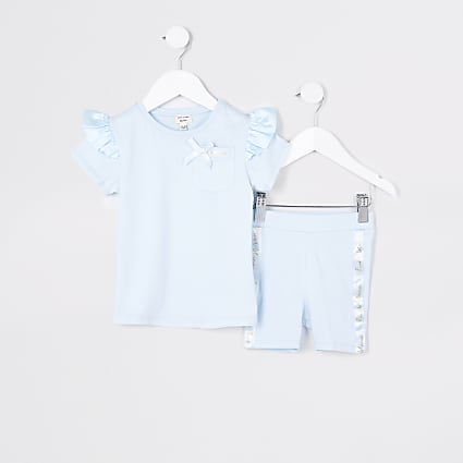 Mini girls blue satin frill t-shirt outfit