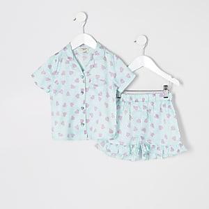 Mini – Blaue, bedruckte Pyjamas aus Satin