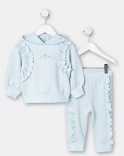 Mini girls blue scuba hoodie 2 piece set