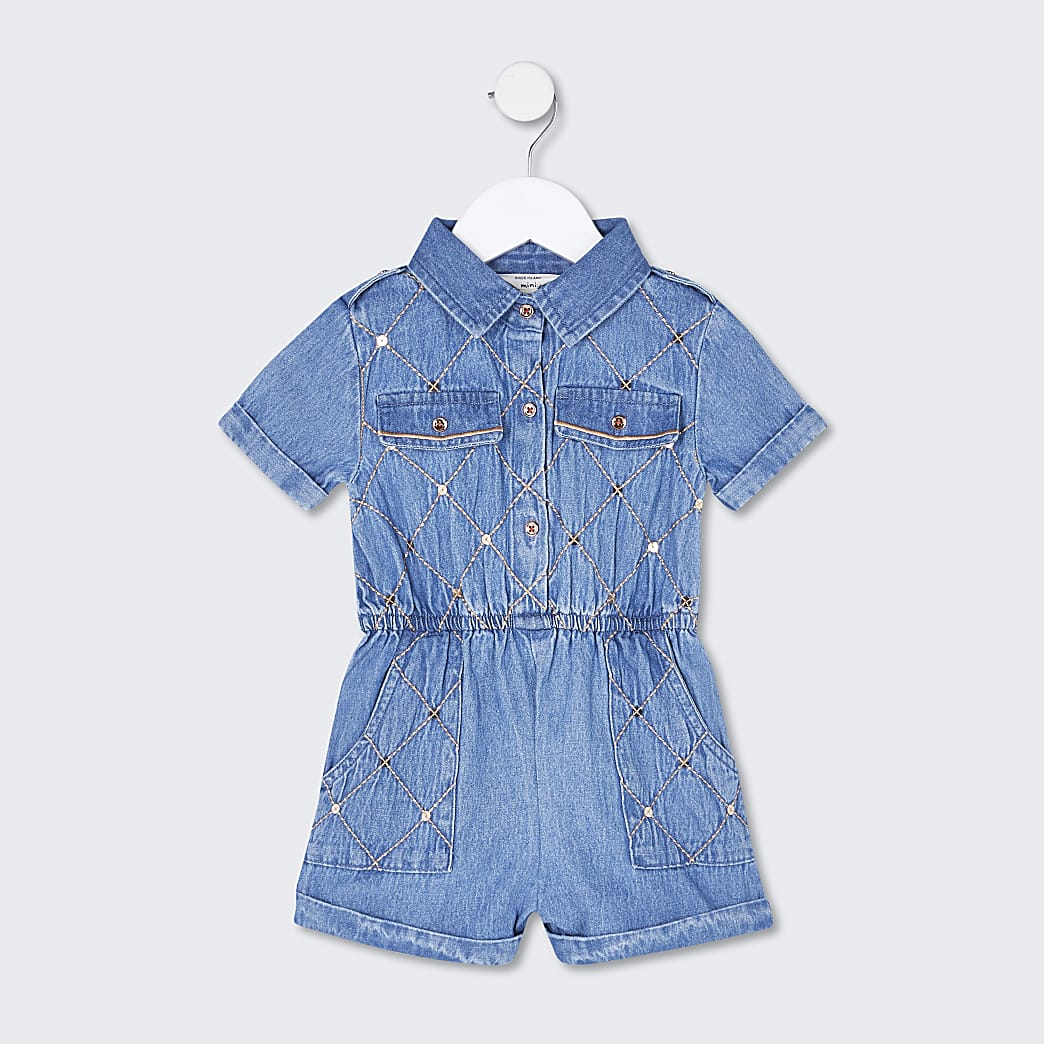 Mini girls blue sequin denim playsuit