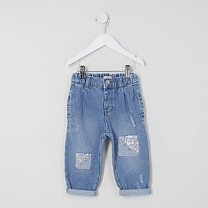 Blaue Mom-Jeans mit Pailletten für kleine Mädchen