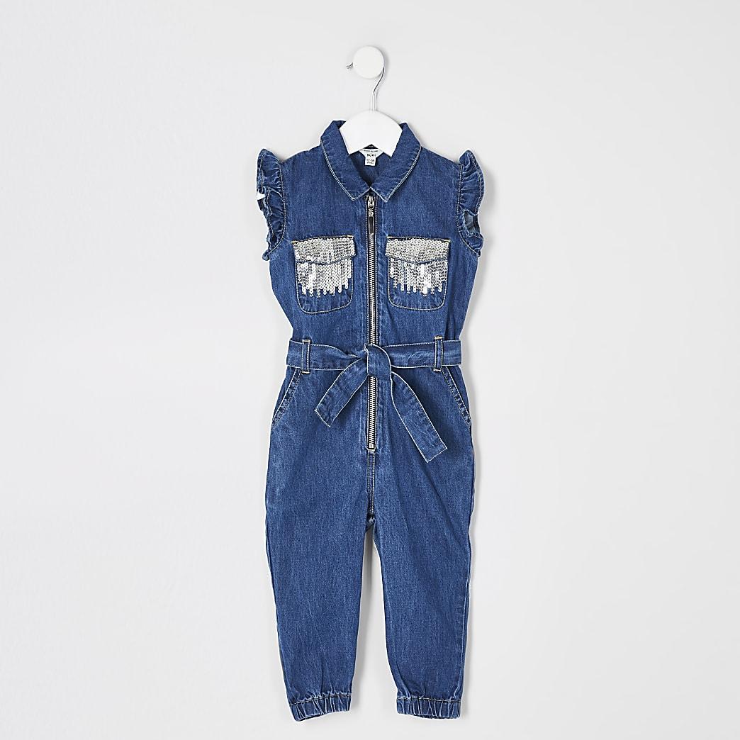 Mini girls blue sequin pocket denim jumpsuit