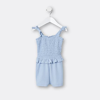 Mini girls blue shirred bow playsuit