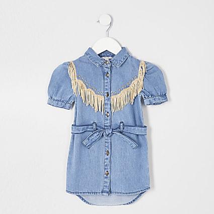 Mini girls blue shirt dress