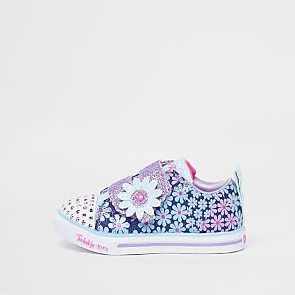 Mini girls blue Skechers floral glitter shoes