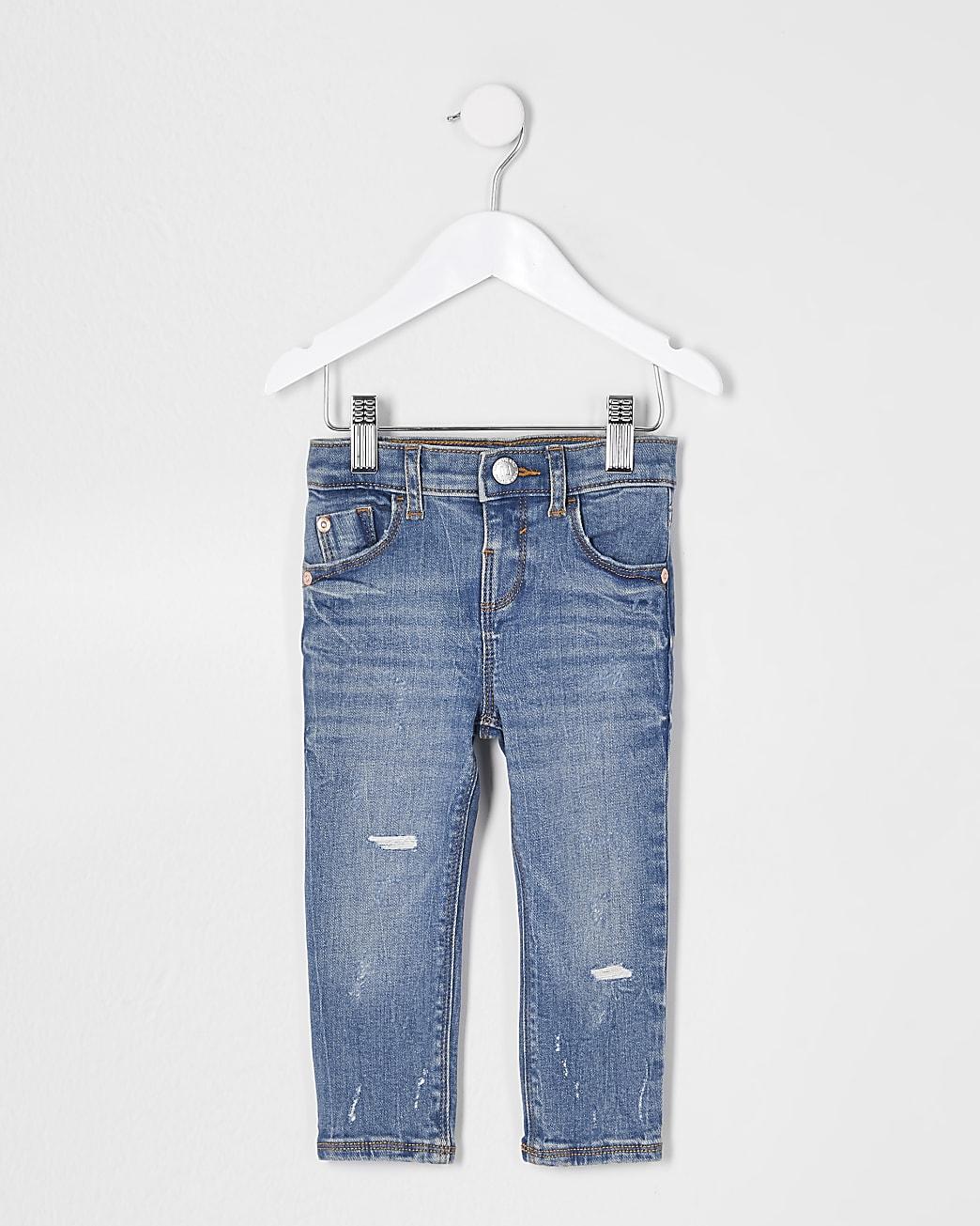 Mini girls blue skinny ripped jeans