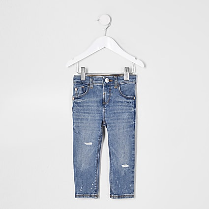 Mini girls blue skinny ripped jeans