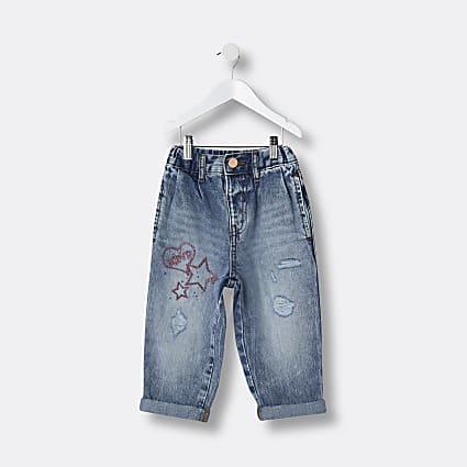 Mini girls blue star graffiti print mom jeans