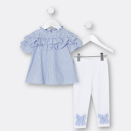 Mini girls blue stripe blouse and legging set