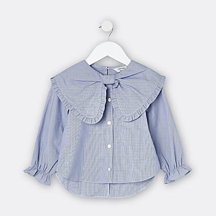 Mini girls blue stripe bow blouse top