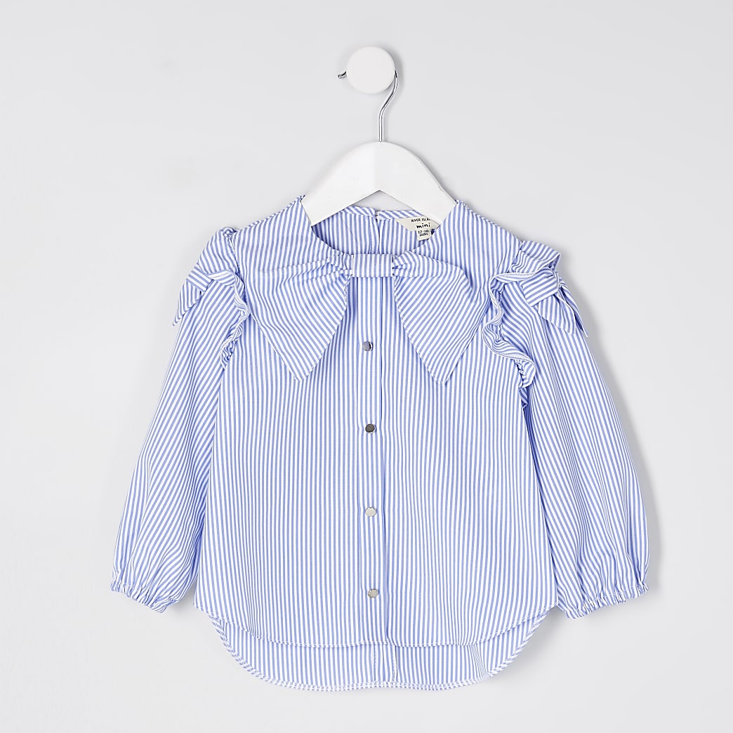 Mini girls blue stripe bow shirt