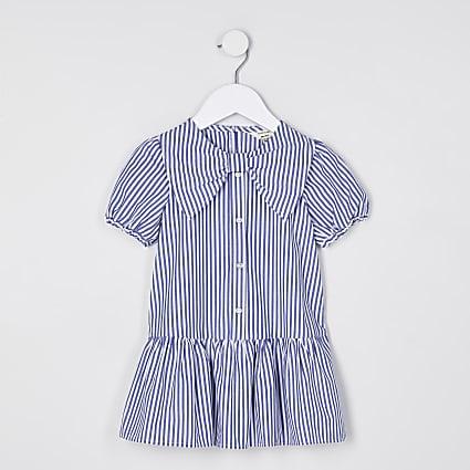 Mini girls blue stripe collar shirt dress
