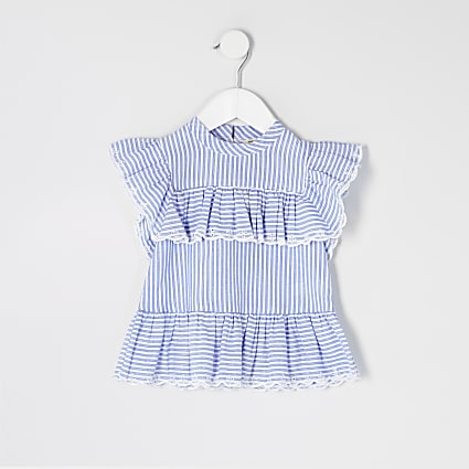 Mini girls blue stripe frill embroidered top