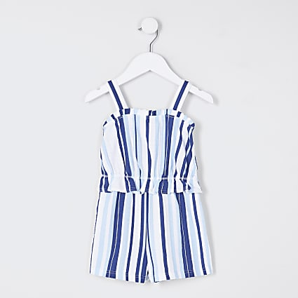 Mini girls blue stripe playsuit