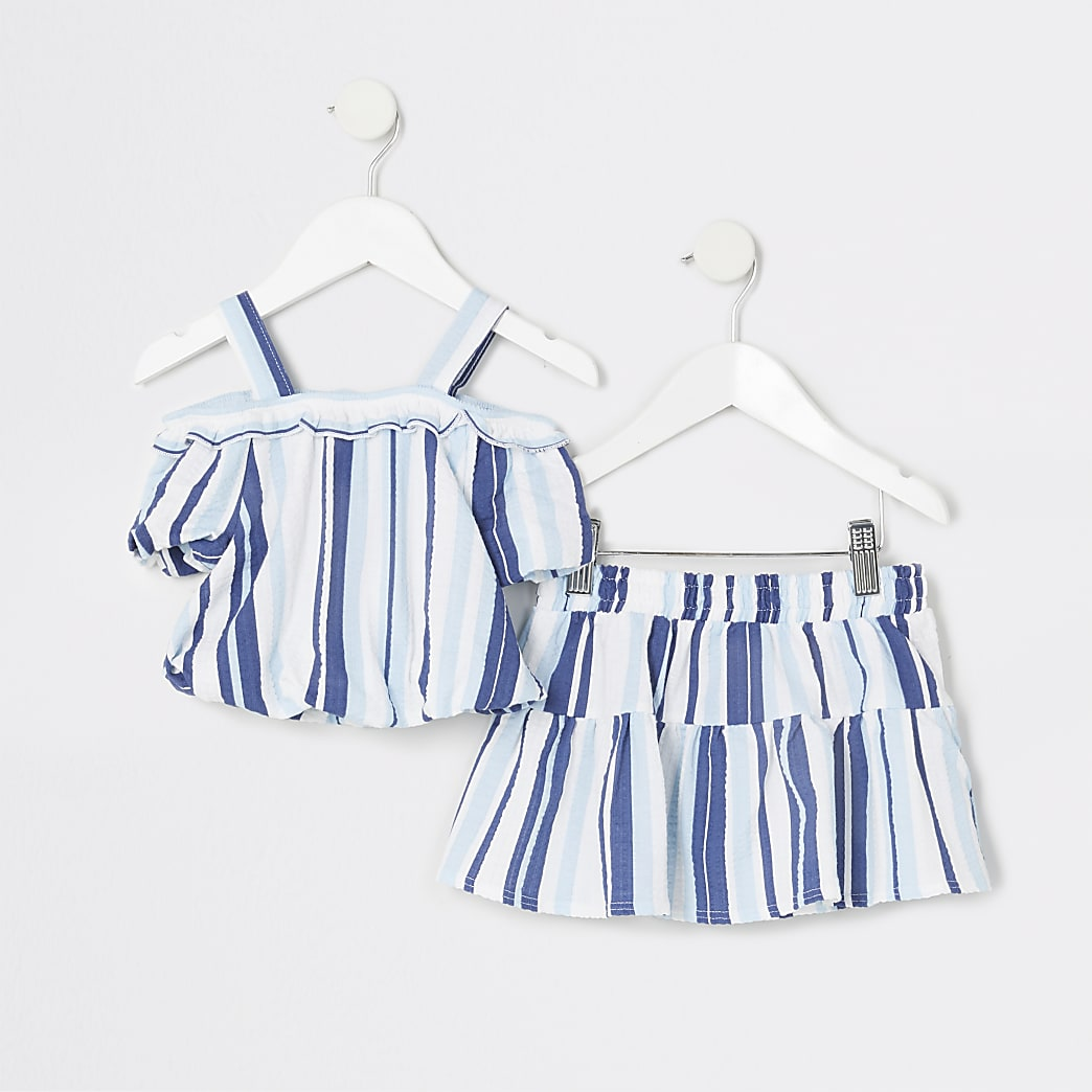 Mini girls blue stripe top and skirt outfit