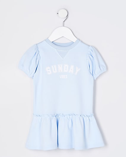 Mini girls blue 'Sunday Vibes' t-shirt dress