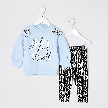 Mini girls blue sweatshirt outfit