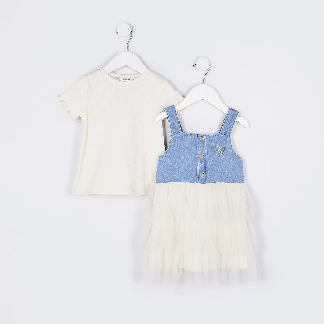 Mini girls blue t-shirt and denim dress set