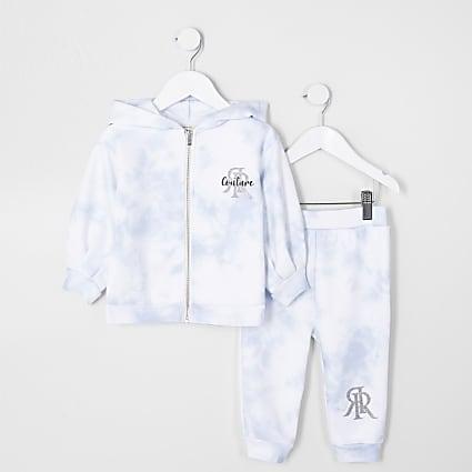Mini girls blue tie dye jogger outfit