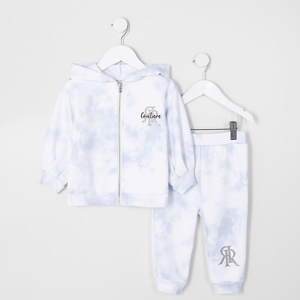 Mini girls blue tie dye jogger outfit