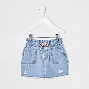 Mini girls blue tie waist denim skirt