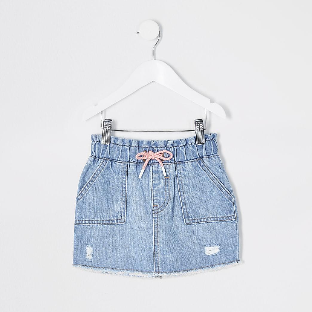 Mini girls blue tie waist denim skirt