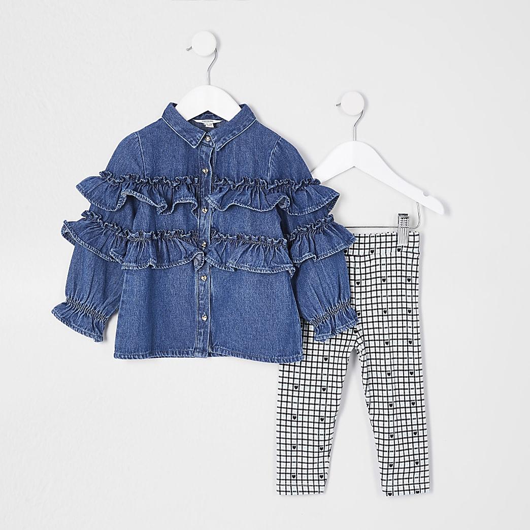 Mini girls blue tiered denim shirt outfit