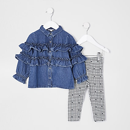 Mini girls blue tiered denim shirt set