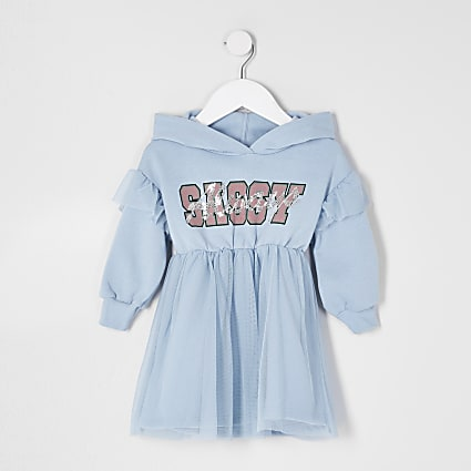 Mini girls blue tulle skirt sweat dress