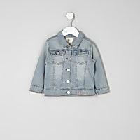 Mini girls blue wash embroidered denim jacket