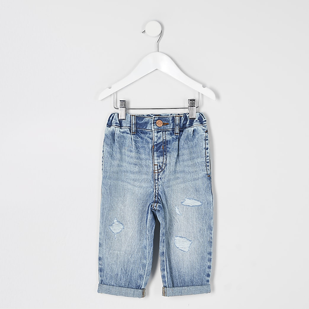 Mini girls blue washed ripped Mom jean