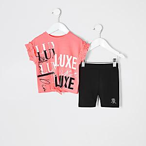 Mini–Hellpinkes, bedrucktes T-Shirt-Outfit für Mädchen