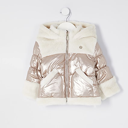 Mini girls bronze borg puffer coat