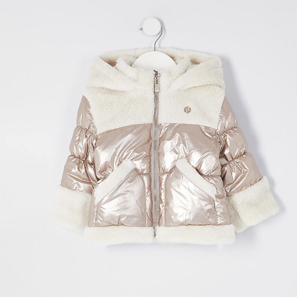 Mini girls bronze borg puffer coat