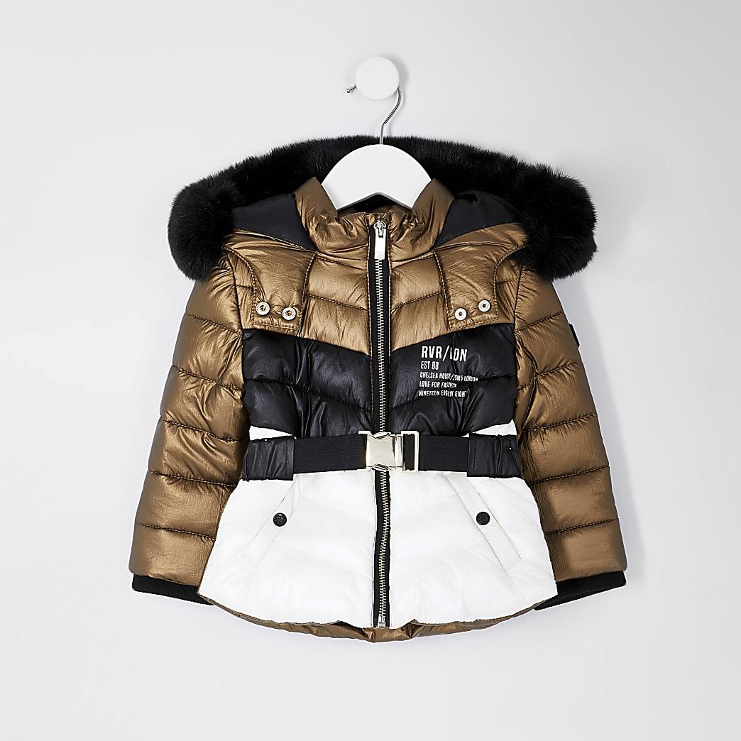 Mini girls bronze colour block puffer coat